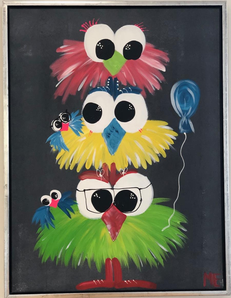 malerier med sjove fugle